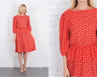 Vintage 80s Red Peplum Dress Puff Sleeve Floral + Polka Dot Print Small S 10042
