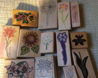 Flowers Flowers and More Flowers wood mounted stamps roses daffodil vases violets tulips #2 Ends 8/18
