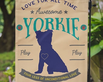 Yorkie Yard Flag | Yorkshire Terrier Lives Here | Garden Or Large House Flag  | Size