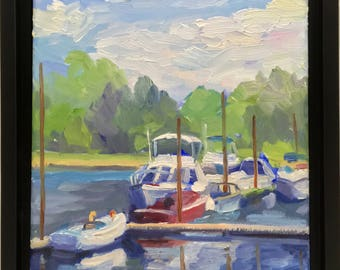 Small Plein Air Landscape Oil Painting Summer Boats Framed Painting