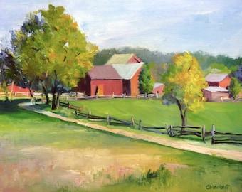 Farm Landscape Oil Painting Impressionist Framed Painting