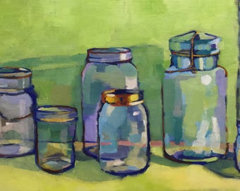 Preserving Color Still Life Oil Painting on Elongated Canvas