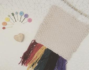 Rainbow chunky weave wall hanging