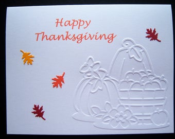 Set of Six Embossed Thanksgiving Cards