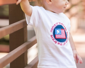Home of the Free Because of the Brave, 4th of July Boy Shirt, 4th of July Baby Outfit, Fourth of July Shirt, 4th of July Applique Shirts