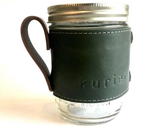 Forest green colored Kurier leather Camp Mug