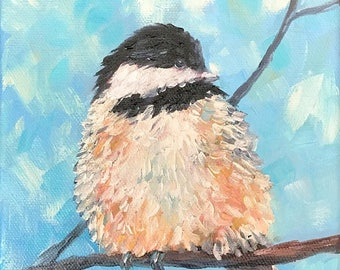 50% off SALE Chickadee 1, Original Hand Painted Oil Painting. Size 6 x 6 canvas