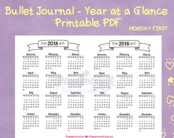 Year at a Glance Calendar 2018 Bullet Journal Stickers