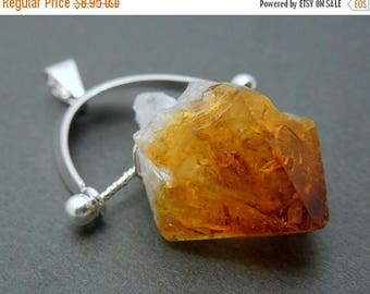 10% off Labor Day Natural Citrine Quartz Pendant- Citrine Pendant with Silver Plated Bail (S25B18-03)