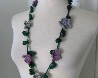 Crochet flower necklace purple gray