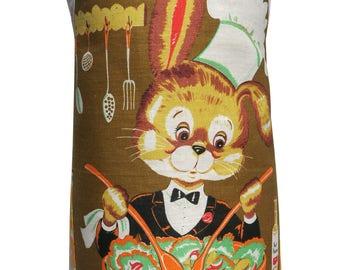 Metro Retro - Bunny Rabbit Chef  - Vintage Tea Towel kitchen Apron - OOAK, upcycled. BIRTHDAY Christmas Gift Idea