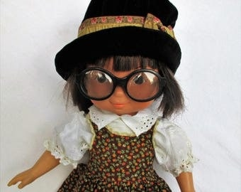 """20% Summer SALE Vintage 1978 My Friend Jenny Doll with Dark Hair, Glasses, Dark Skin by Fisher Price 16"""" doll 212"""