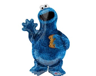 """Cookie Monster Balloon Large 31"""" Mylar Cookie Monster Party Sesame Street Party Food Balloon"""