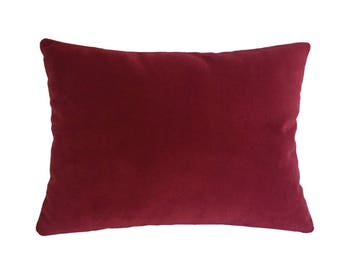 """Red Velvet Suede Decorative Throw Pillow Cover / Pillow Case / Cushion Cover / 12x16"""""""