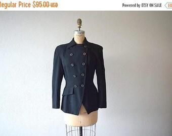 25% SALE Vintage 1940s blazer . 40s black wool suit jacket
