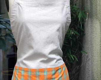 Custom Apron for Tigerbox, linen cotton full apron orange details
