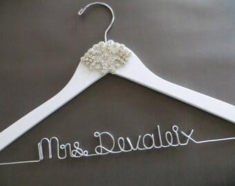 White CRYSTAL Wedding Hanger, Winter Wedding, Rhinestone Bridal Hanger, Mrs Hanger, Wedding Dress Hanger, Custom Bride Hanger, Wooden Hanger