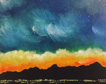 """Smoke in the Valley - 16""""x16""""x1.5"""" Acrylic Painting on Canvas- Gallery Style - Original"""