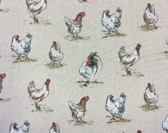 Chickens print on linen effect cotton by the metre
