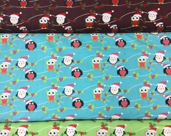 Fabric freedom Christmas Characters collection FF53 Owls & Penguins in brown, blue or green by the half metre