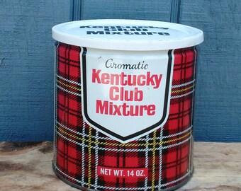 Kentucky Club Tobacco Tin - Plaid Tin - Horse Tin - New Old Stock