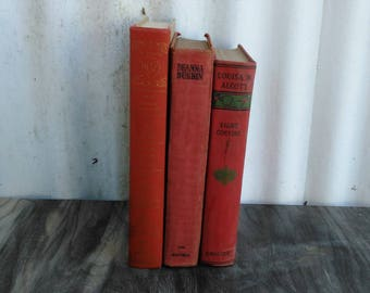 Antique Red Book Collection - Red Books - Vintage Books - Book Bundle - Set of 3 - Cottage - Farmhouse