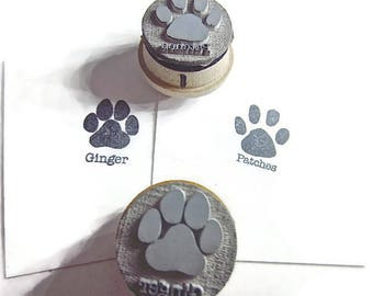 Paw Print Rubber Stamp - Dog paw Cat paw with personalized name New Wood Mounts C001