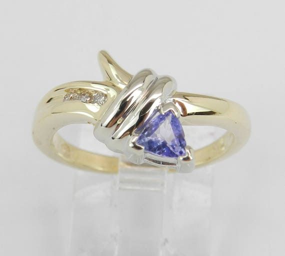 Diamond and Tanzanite Engagement Ring 14K Yellow Gold Size 6 Trillion December Gem