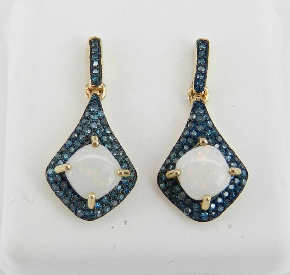 14K Yellow Gold Opal and Blue Diamond Drop Earrings October Wedding Gift