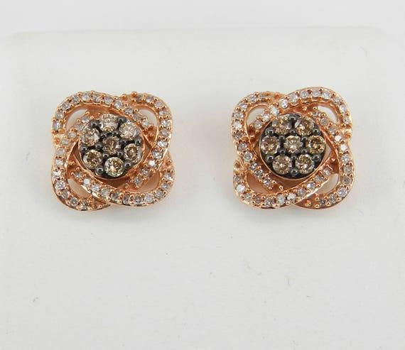 Rose Gold Fancy Cognac Diamond Stud Earrings Cluster Studs Wedding Gift