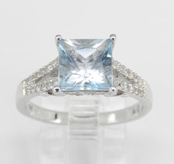 Diamond and Princess Cut Aquamarine Engagement Ring Aqua 14K White Gold Size 7