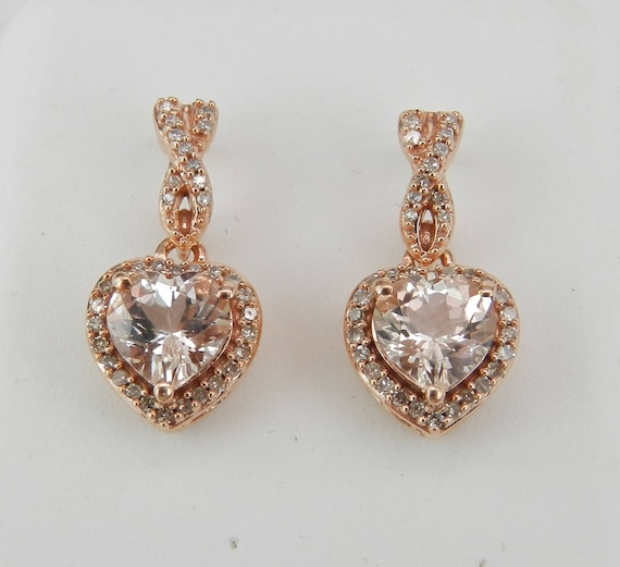 Heart Morganite and Diamond Dangle Drop Halo Earrings Rose Gold Unique Gemstone