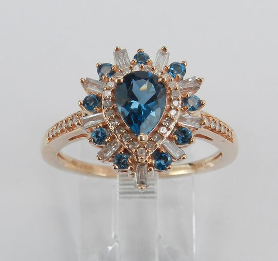Rose Gold Diamond and London Blue Topaz Halo Engagement Promise Ring Size 6