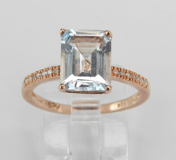 Rose Gold Diamond and Emerald Cut Aquamarine Engagement Aqua Ring Size 6 March