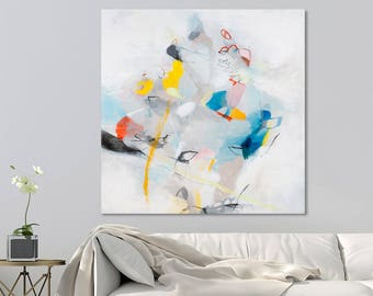 Modern Canvas art Large City Art 32x32 WHITE painting with blue and beige playful large abstract art by Duealberi