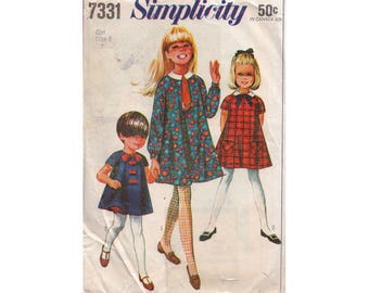 Girls Adorable Flared Dress in 2 Lengths with Bloomers and Tie Simplicity 7331 Chilrens Size 8 Raglan Sleeves Vintage 1960s Sewing Pattern
