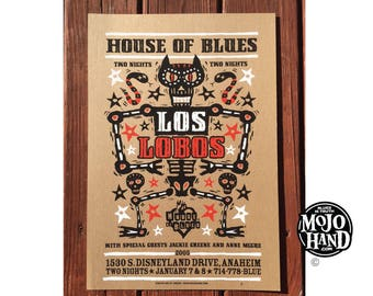 Los Lobos- silkscreened gig poster - HOB Anaheim - 2005 - signed