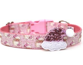 Pink Santa Hat Add On Dog Collar Accessory Dog Collar Add On No Dog Collar Included READY TO SHIP