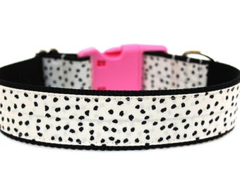 "Polka Dot Dog Collar 1"" or 1.5"" Modern Dog Collar Girl Dog Collar"