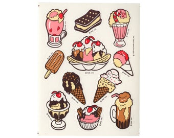 Vintage 80's HALLMARK Stickers Sheet ~ ICE CREAM Cone Sundae Popsicle Sandwich Float Sprinkles