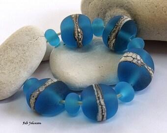 Turquoise Summer Stones, Lampwork Pebble Beads, SRA, UK