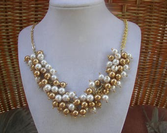 Gold and White Swarovski Pearl Cluster Necklace, Chunky Pearl Necklace, Wedding Jewelry, Bridesmaid Necklace, Gold and White Pearl Jewelry