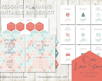 Wedding Planning Tools, Dividers Tabs, Worksheets and Checklist, Wedding Planner, Wedding Organizer - Printable Binder Kit