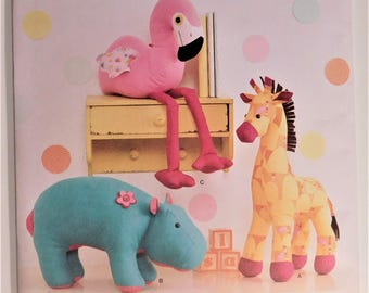 Cute Stuffed Zoo Animals to Sew New Simplicity Pattern 1082 Perfect Baby Toy, Shower Gift, Hippo, Giraffe, and Flamingo