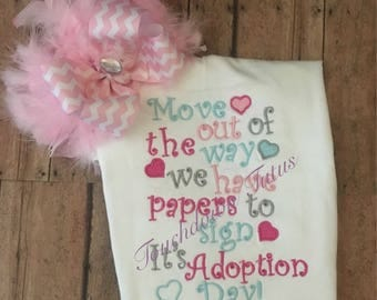 Adoption shirt with coordinating bow