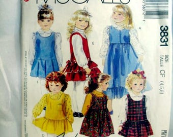 VINTAGE McCall's  3831   EASY  Girl's Jumper Size 4,5,6