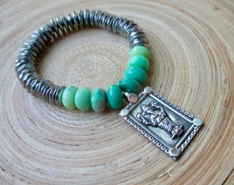 Ganesh bracelet with hematite and chrysoprase stretch stacking yoga bracelet with silver and green stones