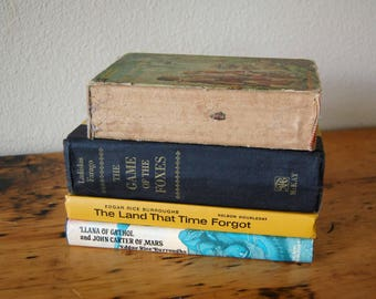 Vintage Hardcover Books Vintage Swiss Family Robinson The Game of Foxes The Land That Time Forgot Robinson Crusoe from The Eclectic Interior