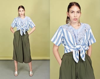 80s Olive Green Culottes Vintage High Waisted Wide Legged Pants
