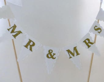 MR & MRS Wedding Cake Bunting Topper - White and Gold